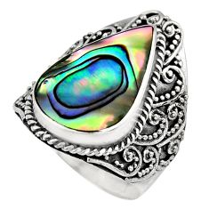 7.84cts natural abalone paua seashell 925 silver solitaire ring size 7 c7827