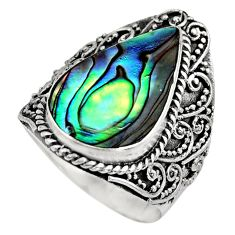 7.23cts natural abalone paua seashell 925 silver solitaire ring size 7 c7828