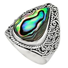 7.38cts natural abalone paua seashell 925 silver solitaire ring size 8 c7829