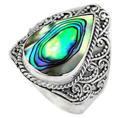 925 silver 7.02cts natural abalone paua seashell solitaire ring size 9 c7830