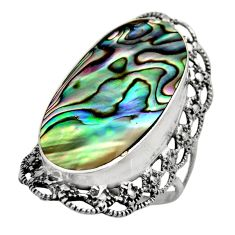 9.98cts natural abalone paua seashell 925 silver solitaire ring size 7 c7833