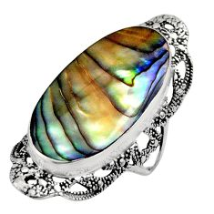 14.12cts natural abalone paua seashell 925 silver solitaire ring size 7 c7834