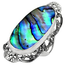 12.34cts natural abalone paua seashell 925 silver solitaire ring size 8 c7835