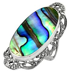 12.83cts natural abalone paua seashell 925 silver solitaire ring size 8 c7837