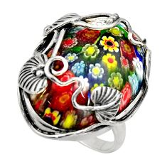 30.50cts italian murano glass 925 sterling silver solitaire ring size 9 c7850