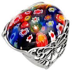 925 silver 25.07cts multi color italian murano glass solitaire ring size 9 c7853