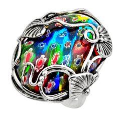 26.89cts multi color italian murano glass 925 silver solitaire ring size 8 c7854