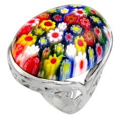 24.62cts multi color italian murano glass 925 silver solitaire ring size 8 c7855