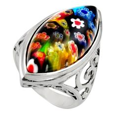 19.43cts multi color italian murano glass 925 silver solitaire ring size 9 c7856