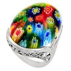26.20cts multi color italian murano glass 925 silver solitaire ring size 8 c7857