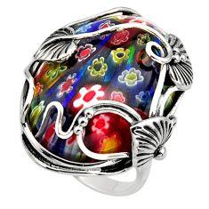 925 silver 28.70cts multi color italian murano glass solitaire ring size 9 c7858