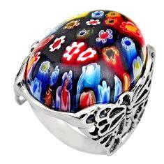 26.20cts multi color italian murano glass 925 silver solitaire ring size 8 c7859