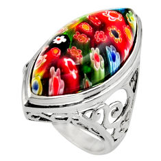 925 silver 18.98cts multi color italian murano glass solitaire ring size 8 c7860