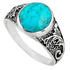 7.69gms green arizona mohave turquoise enamel 925 silver ring size 11.5 c7904