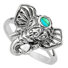 925 silver 3.48gms green arizona mohave turquoise elephant ring size 8 c7906