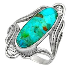 5.18cts green arizona mohave turquoise 925 silver solitaire ring size 8 c7907