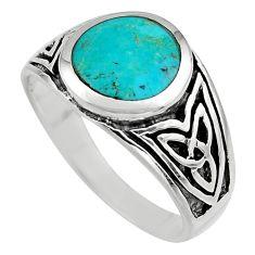 6.89gms green arizona mohave turquoise enamel 925 silver ring size 12 c7914