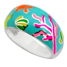 6.44gms color inlay enamel 925 sterling silver ring jewelry size 8 c7982