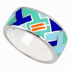 7.26gms color inlay enamel 925 sterling silver ring jewelry size 9 c7983