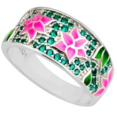 Color inlay emerald (lab) enamel 925 sterling silver ring jewelry size 9 c7985