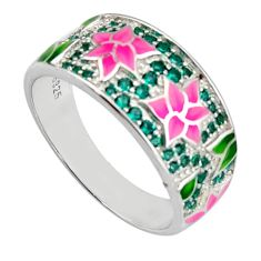 Color inlay emerald (lab) enamel 925 sterling silver ring jewelry size 9 c7986