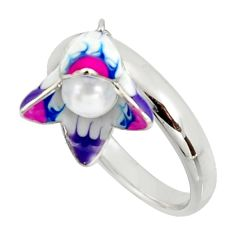 Color inlay white pearl enamel 925 sterling silver ring jewelry size 8 c8000