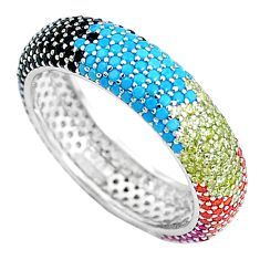 925 sterling silver engagement band fine turquoise ruby (lab) ring size 8 c8051