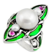 8.33cts art nouveau natural white pearl ruby enamel silver ring size 6.5 c8087