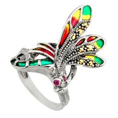 0.06cts art nouveau natural red ruby marcasite enamel silver ring size 8 c8088