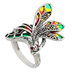 0.07cts art nouveau natural ruby marcasite enamel 925 silver ring size 7 c8089