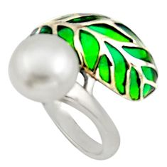 4.92cts art nouveau natural white pearl enamel 925 silver ring size 7.5 c8092