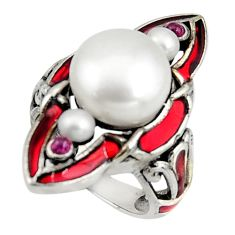 8.12cts art nouveau natural white pearl ruby enamel silver ring size 6.5 c8100