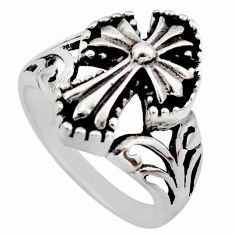 925 silver 7.69gms indonesian bali style religious holy cross ring size 7 c8311