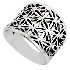 925 plain silver 5.26gms flower of life symbol ring jewelry size 5.5 c8315