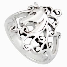 5.48gms indonesian bali style 925 sterling silver unicorn ring size 9 c8334