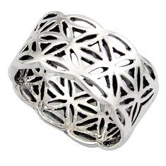 6.26gms flower of life symbol 925 silver plain ring size 6.5 c8335