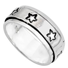 7.64gms meditation and concentration 925 silver spinner band ring size 8.5 c8348