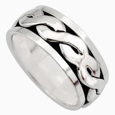 8.24gms meditation and concentration 925 silver spinner band ring size 8.5 c8351