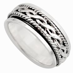 925 silver 7.69gms meditation and concentration spinner band ring size 7.5 c8354