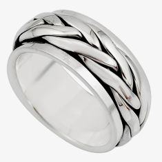 10.89gm meditation and concentration 925 silver spinner band ring size 7.5 c8356