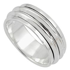 7.69gms meditation and concentration 925 silver spinner band ring size 8.5 c8363