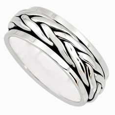 9.47gms meditation and concentration 925 silver spinner band ring size 8.5 c8366