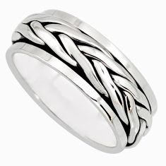 10.26gm meditation and concentration 925 silver spinner band ring size 9.5 c8367