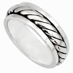 6.69gms meditation and concentration 925 silver spinner band ring size 9.5 c8370