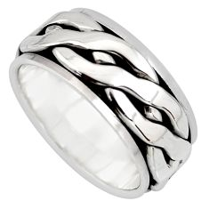 10.65gm meditation and concentration 925 silver spinner band ring size 8.5 c8372