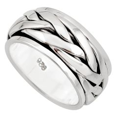 11.69gm meditation and concentration 925 silver spinner band ring size 8.5 c8377