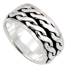 10.69gms meditation and concentration silver spinner band ring size 10.5 c8380