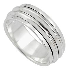 7.69gms meditation and concentration 925 silver spinner band ring size 8.5 c8381