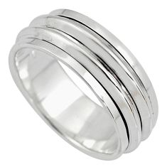 7.69gms meditation and concentration 925 silver spinner band ring size 8.5 c8382