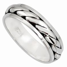 6.26gm meditation and concentration 925 silver spinner band ring size 11.5 c8386